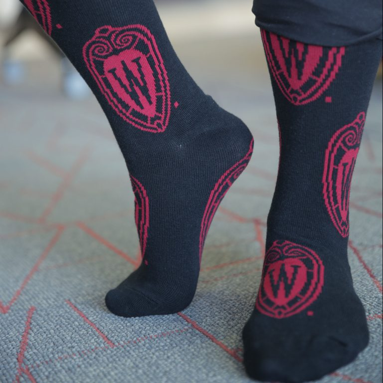 Photo of W crest socks on a model's feet